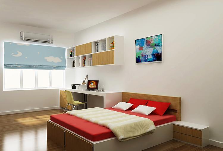 Phòng ngủ gỗ công nghiệp đơn giản
